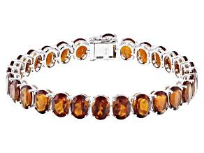 Orange Madeira Citrine Rhodium Over 14k White Gold Bracelet 27.17ctw