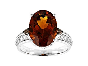 Orange Madeira Citrine Rhodium Over 14k White Gold Ring 5.54ctw