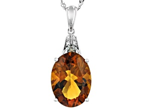 Orange Madeira Citrine Rhodium Over 14k White Gold Pendant With Chain 5.09ctw