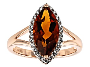 Orange Madeira Citrine 14k Rose Gold Ring 2.86ctw