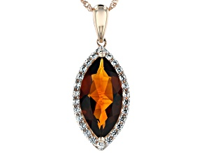 Orange Madeira Citrine 14k Rose Gold Pendant With Chain 2.46ctw