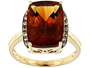 Orange Madeira Citrine 14k Yellow Gold Ring 5.68ctw