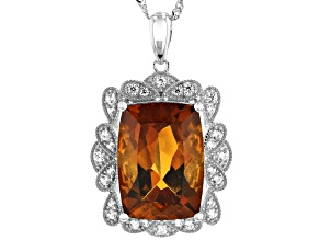 Orange Madeira Citrine Rhodium Over 14k White Gold Pendant With Chain 5.82ctw