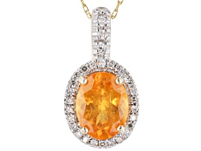 Orange Spessartite 14k Yellow Gold Pendant with Chain 2.39ctw
