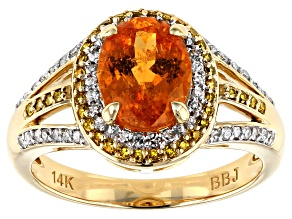 Orange Spessartite 14k Yellow Gold Ring 2.58ctw