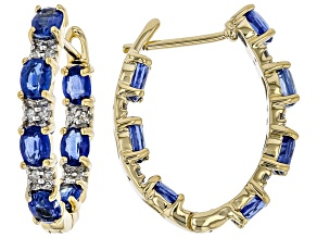 Blue Kyanite 14k Gold Inside/Outside Hoop Earrings 2.77ctw