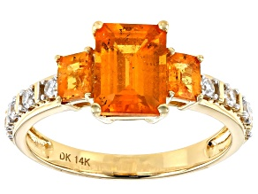 Orange Spessartite 14k Yellow Gold Ring 2.98ctw