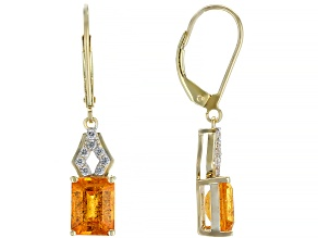 Orange Spessartite 14k Yellow Gold Dangle Earrings 4.14ctw