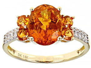 Orange Spessartite 14k Yellow Gold Ring 3.78ctw