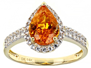 Orange Spessartite Garnet 14k Yellow Gold Ring 2.90ctw