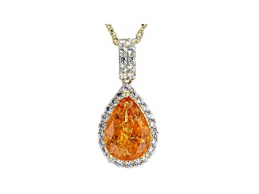 Orange Spessartite Garnet 14k Yellow Gold Pendant with Chain 2.72ctw