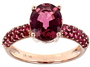 Red Rubellite 14K Rose Gold Ring 3.00ctw