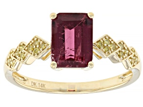 Pink rubellite 14k yellow gold ring 1.30ctw