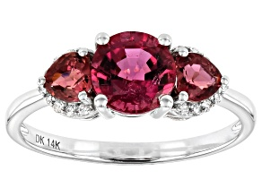 Pink rubellite 14k white gold ring 1.55ctw