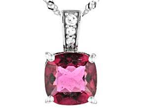 Pink Rubellite Rhodium Over 14k White Gold Pendant With Chain 1.31ctw