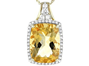 Golden Citrine 14k Yellow Gold Pendant With Chain 8.90ctw