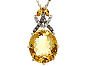 Golden Citrine 14k Yellow Gold Pendant With Chain 6.78ctw
