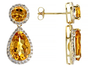 Golden Citrine 14k Yellow Gold Earrings 6.96ctw