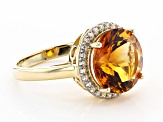 Golden citrine 14k yellow gold ring 5.63ctw