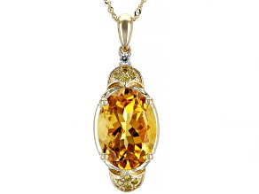 Golden Citrine 14k Yellow Gold Pendant With Chain 4.09ctw