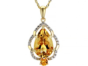 Golden Citrine 14k Yellow Gold Pendant With Chain 3.15ctw