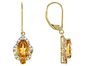 Golden citrine 14k yellow gold dangle earrings 2.80ctw