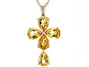 Golden Citrine 14k Yellow Gold Cross Pendant with Chain 4.62ctw