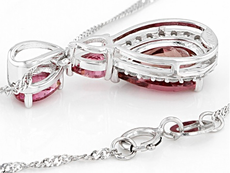 Pink tourmaline rhodium over 14k white gold pendant with chain 1.50ctw