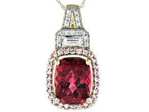 Pink Tourmaline 14k Yellow Gold Pendant With Chain 3.53ctw