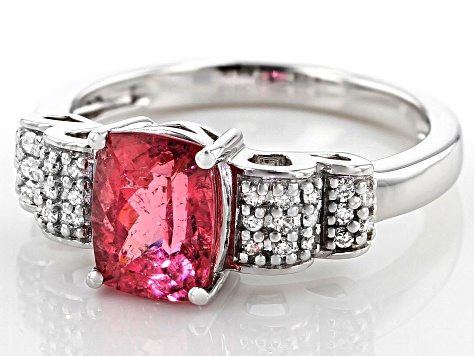 Pink Tourmaline Rhodium Over 14k White Gold Ring 1.57ctw