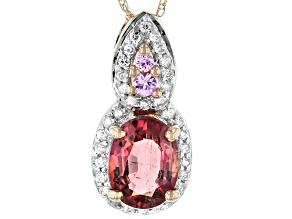 Pink Tourmaline 14k Slide With Chain 1.23ctw