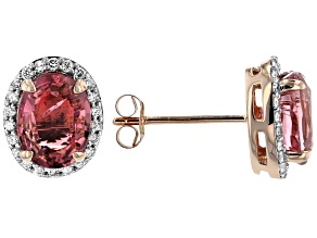 Pink Tourmaline 14k Rose Gold Stud Earrings 2.24ctw