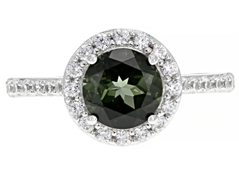 Green Tourmaline Rhodium Over 14k White Gold Ring 1.77ctw