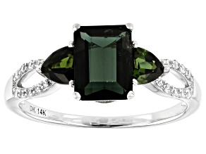 Green Tourmaline Rhodium Over 14k White Gold Ring 1.68ctw