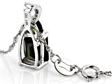 Green Tourmaline Rhodium Over 14k White Gold Pendant With Chain 1.38ctw