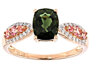 Green Tourmaline 14k Rose Gold Ring 1.60ctw