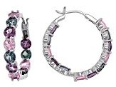 Mixed-Color Spinel Rhodium Over 14k White Gold Hoop Earrings 5.84ctw