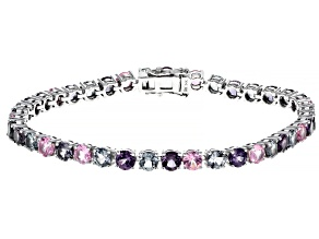 Mixed-Color Spinel Rhodium Over 14k White Gold Tennis Bracelet 9.76ctw
