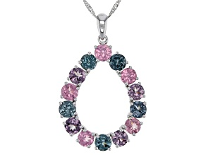 Mixed-Color Spinel Rhodium Over 14k White Gold Pendant With Chain 3.24ctw