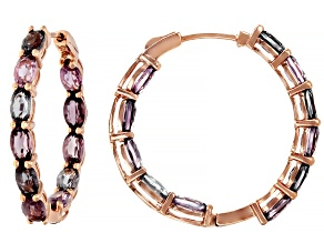 Mixed-Color Spinel 14k Rose Gold Hoop Earrings 5.96ctw