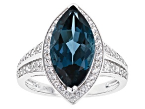 London Blue Topaz Rhodium Over 14k White Gold Ring 4.51ctw