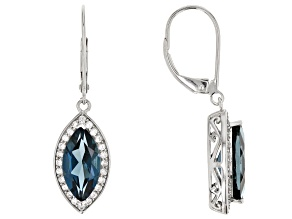 London Blue Topaz Rhodium Over 14k White Gold Earrings 3.75ctw