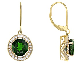 Green Russian Chrome Diopside 14k Yellow Gold Earrings 4.19ctw
