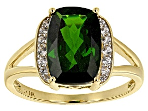Green Russian Chrome Diopside 14k Yellow Gold Ring 3.64ctw