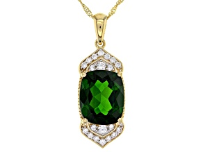 Green Russian Chrome Diopside 14k Yellow Gold Pendant With Chain 3.94ctw