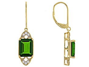 Green Russian Chrome Diopside 14k Yellow Gold Earrings 3.84ctw