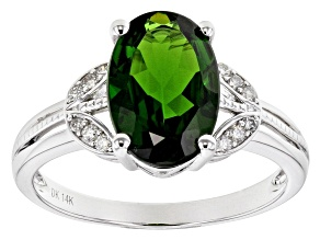 Green Russian Chrome Diopside Rhodium Over 14k White Gold Ring 3.21ctw