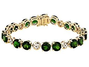 Green Chrome Diopside 14k Yellow Gold Bracelet 22.30ctw