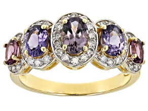 Multi Color Spinel 14k Yellow Gold Ring 1.71ctw