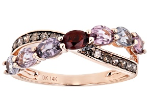 Mixed-Color Spinel 14k Rose Gold Ring 1.52ctw